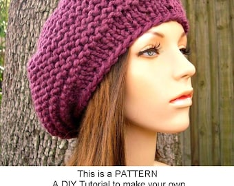 Instant Download Knitting Pattern - Knit Hat Knitting Pattern - Knit Hat Pattern for Tribeca Beret - Womens Hat - Womens Accessories