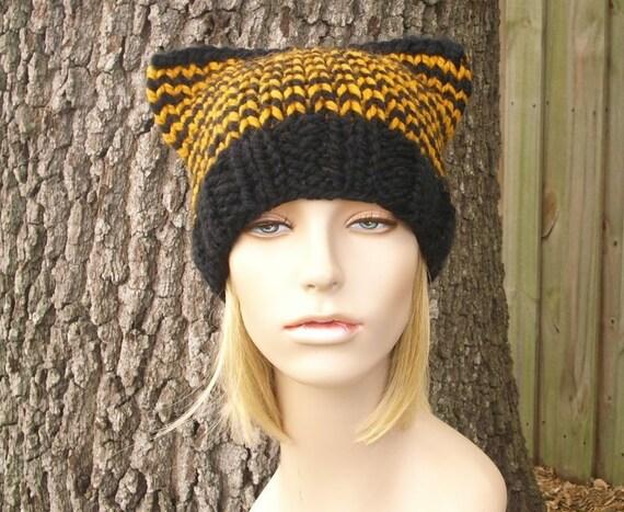 Knit Hat Black Womens Hat - Cat Beanie Hat in Black and Mustard Knit Hat - Black Hat Black Beanie Womens Accessories Winter Hat