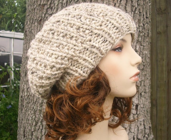 Knit Hat Oatmeal Womens Hat Slouchy Beanie - Soho Beret in Oatmeal Knit Hat - Oatmeal Hat Oatmeal Beanie Oatmeal Beret Womens Accessories