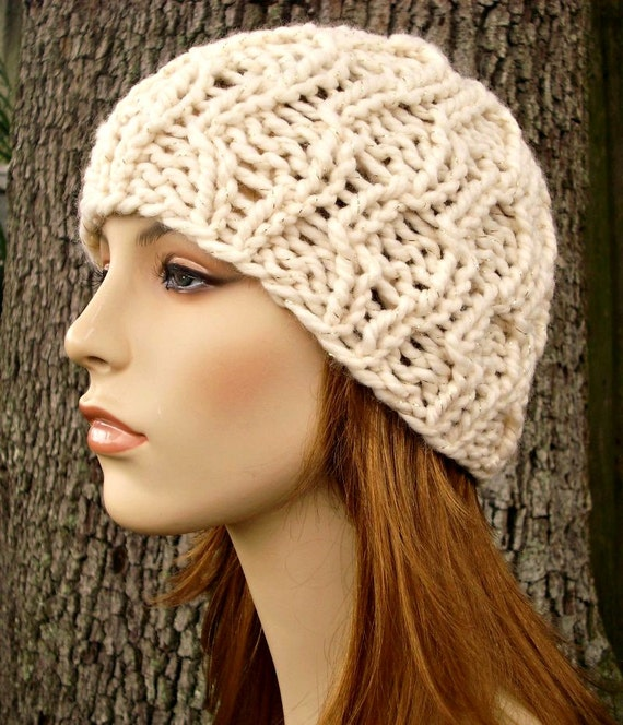 Knit Hat Womens Hat - Amsterdam Cable Beanie in Starlight Metallic Cream and Gold Knit Hat - Cream Hat Womens Accessories Winter Hat