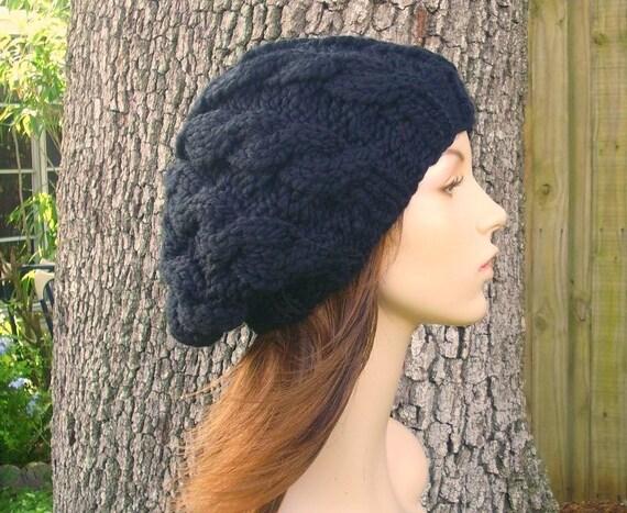 Black Cable Beret Black Womens Hat Black Knit Hat - Black Hat Black Beret Black Beanie Womens Accessories Fall Fashion Winter Hat