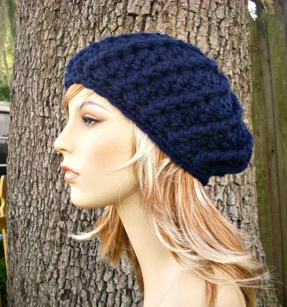 Crochet Hat Womens Hat - Nautilus Ribbed Beret in Navy Blue Crochet Hat - Navy Blue Hat Navy Blue Beret Womens Accessories Winter Hat