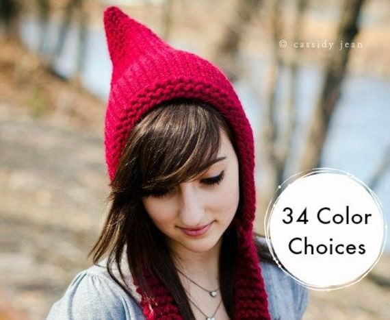 Womens Knitted Cranberry Red Pixie Hat Fall Fashion Winter Accessories - 34 Color Choices