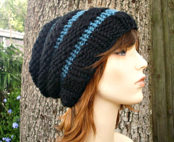 Knit Hat Womens Hat Slouchy Beanie - Beehive Beanie in Black and Teal Blue Knit Hat - Black Hat Blue Hat Womens Accessories Winter Hat