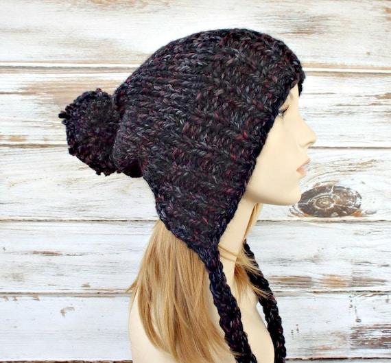 Blackstone Black Grey Slouchy Hat Knit Hat Womens Hat Black Hat Black Beanie Grey Hat - Charlotte Slouchy Ear Flap Hat - Womens Accessories