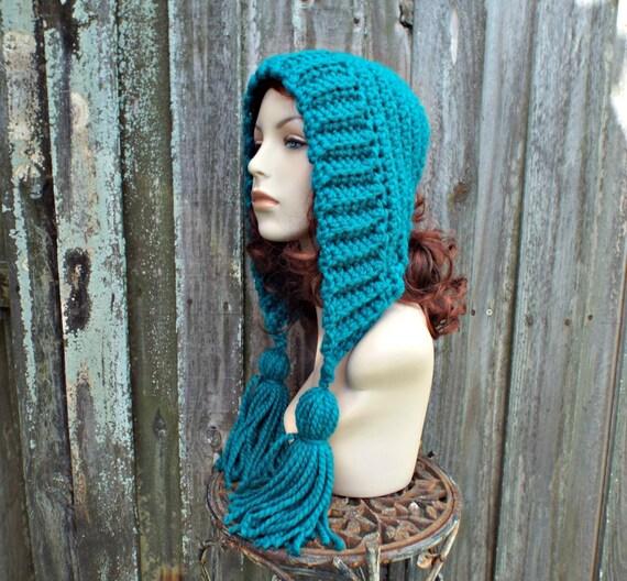 Peacock Blue Crochet Hat Women Hat Crochet Hood Hat Peacock Tassel Hat Peacock Ear Flap Hat - Blue Hat Blue Hood Winter Hat