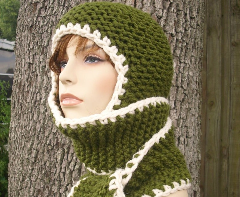 2438edb3f95 Green Womens Hat Green Scarf Hat Garter Nomad Hooded Scarf