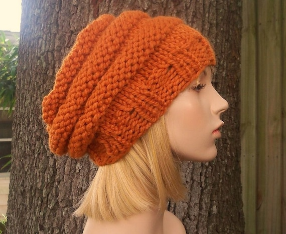 Orange Womens Hat Slouchy Beanie - Original Beehive Beret Apricot Orange Knit Hat - Orange Hat Orange Beret Orange Beanie Womens Accessories