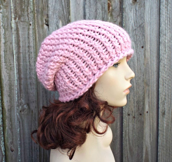 52c2ffe3898 Pink Chunky Knit Hat Womens Warm Winter Hat Knit Accessories