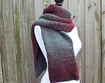 Double Knit Scarf, Oxford Grey and Claret Wine Scarf, Mens Scarf, Womens Scarf, Thick Winter Scarf - 19 Color Choices