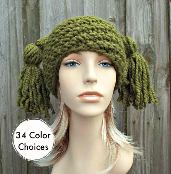 Knit Hat Womens Hat - Spiral Ponytail Tassel Hat in Olive Green - Green Hat Green Beanie Womens Accessories Winter Hat
