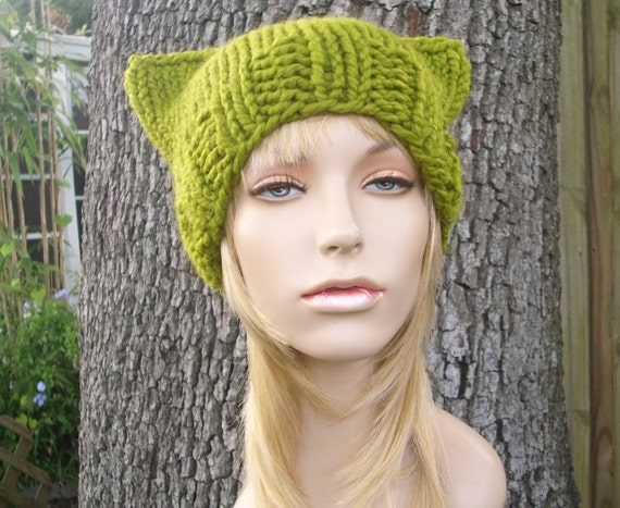 Knit Hat Womens Hat - Green Cat Beanie Hat in Lemongrass Green Knit Hat - Green Hat Green Beanie Green Cat Hat Womens Accessories Winter Hat