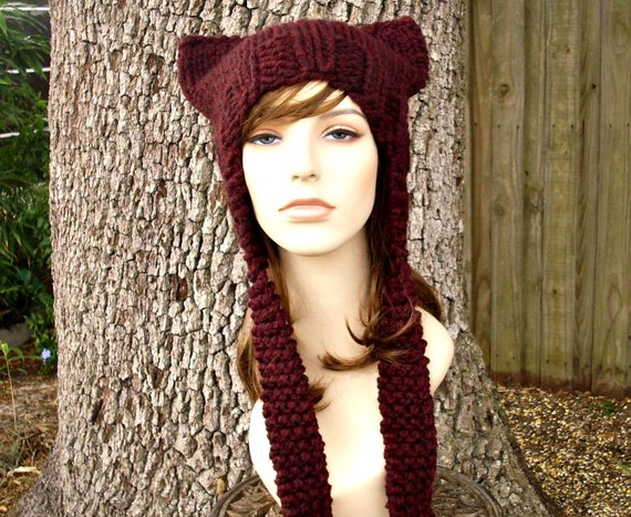 Knit Hat Red Womens Hat - Red Ear Flap Cat Hat in Oxblood Wine Red Knit Hat - Red Hat Red Ear Flap Hat Womens Accessories Winter Hat