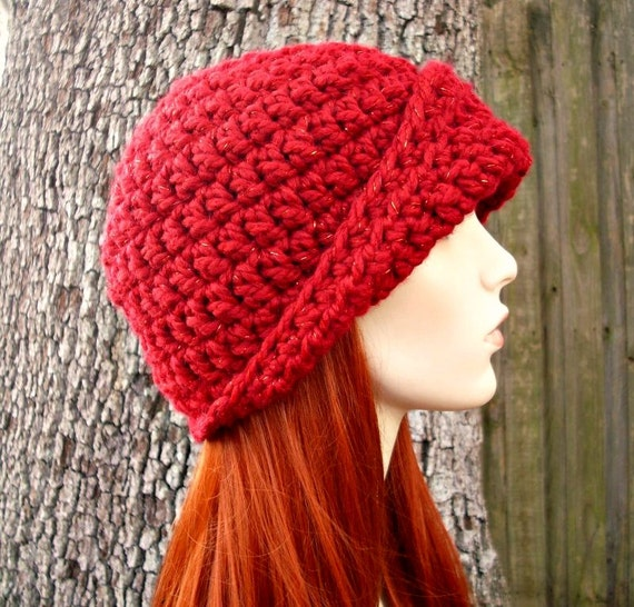 Crochet Hat Womens Hat 1920s Flapper Hat - Garbo Cloche Hat in Poinsettia Red Crochet Hat - Red Hat Red Beanie Red Cloche Womens Accessories
