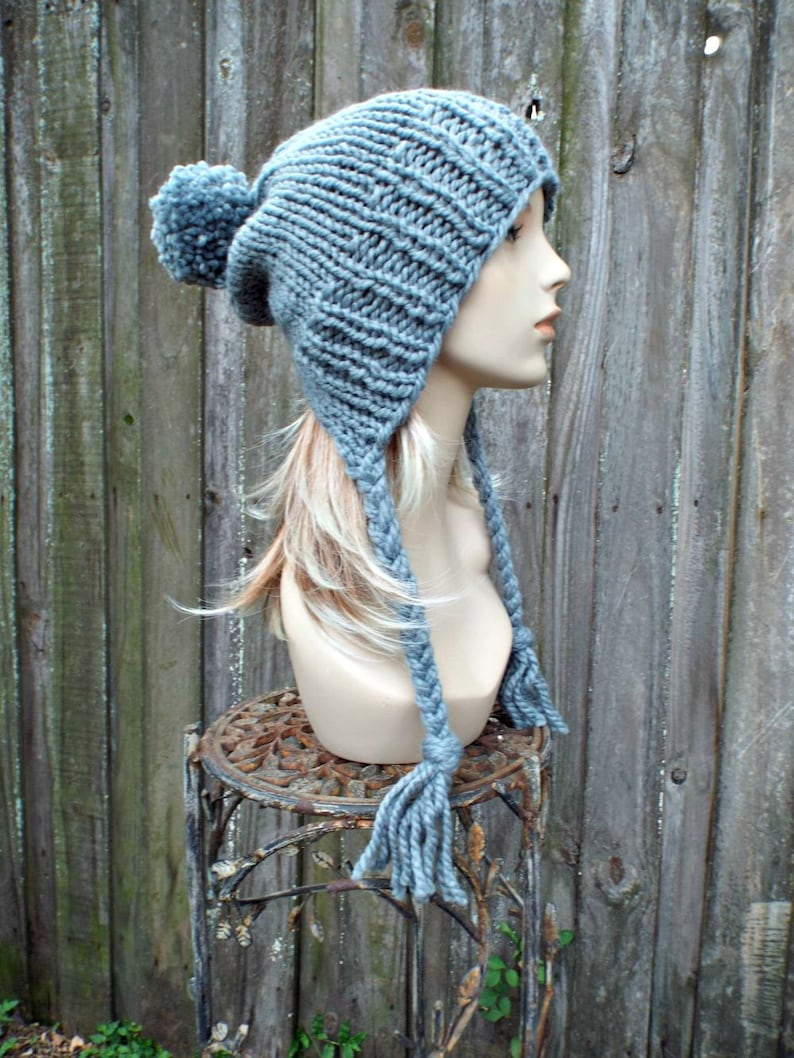 a778909a71b Slate Grey Womens Pom Pom Hat Grey Hat Grey Ear Flap Hat