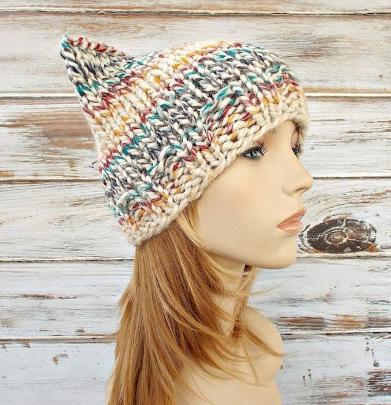 Cream Knit Hat Cream Womens Hat - Multicolor Cat Beanie Hat - Multicolor Cream Hat Cream Beanie Womens Accessories