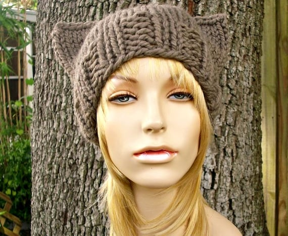 Knit Hat Womens Hat - Brown Cat Beanie Hat in Taupe Brown Knit Hat - Brown Hat Womens Accessories Winter Hat