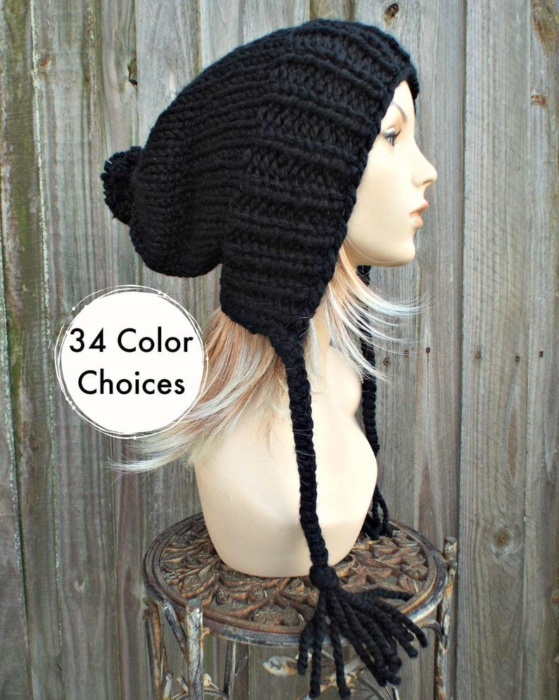 5085f526029 Womens Pom Pom Hat Black Slouchy Hat Knit Hat Black Hat Black