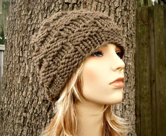 Knit Hat Womens Hat - Basket Weave Beanie Taupe Brown Knit Hat - Taupe Hat Brown Hat Taupe Beanie Brown Beanie Womens Accessories Winter Hat