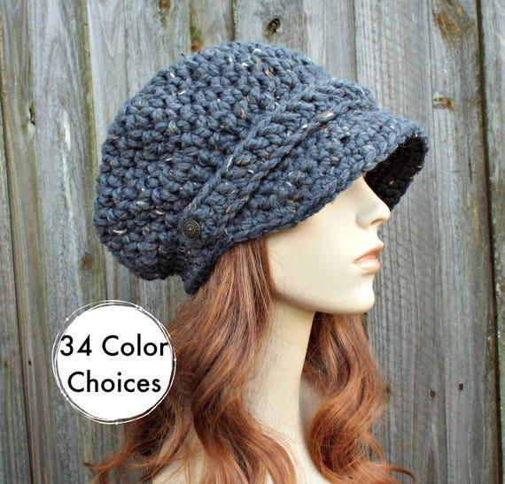 Graphite Tweed Grey Womens Hat Grey Newsboy Hat - Crochet Newsboy Hat Grey Crochet Hat - Grey Hat Womens Accessories