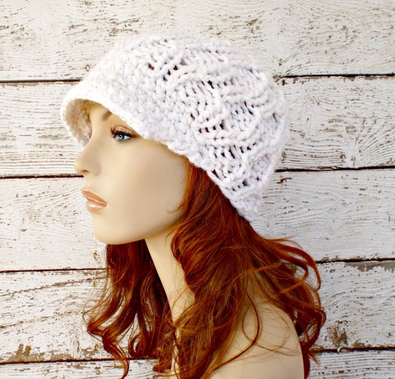 Womens White Newsboy Hat Amsterdam Cable Beanie Visor Celebration Metallic Womens Accessories Fall Fashion Winter Hat - READY TO SHIP