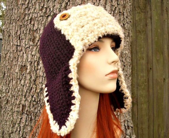 Knit Hat Womens Hat - Ear Flap Hat Trapper Hat Aviator Hat in Eggplant Purple and Cream Shearling - Purple Hat Womens Accessories Winter Hat