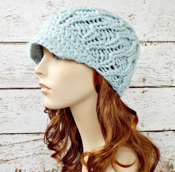 Knit Hat Womens Hat Blue Newsboy Hat Amsterdam Beanie Mystical Blue Knit Hat Blue Hat Blue Beanie Womens Accessories - READY TO SHIP