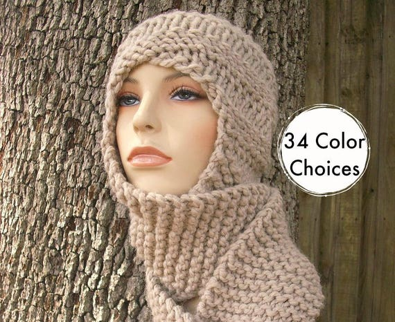 Hand Knit Hat Womens Hat Hooded Scarf - Swirl Beanie Scarf Hat in Cream Knit Hat - Cream Hat Cream Scarf - 34 Color Choices
