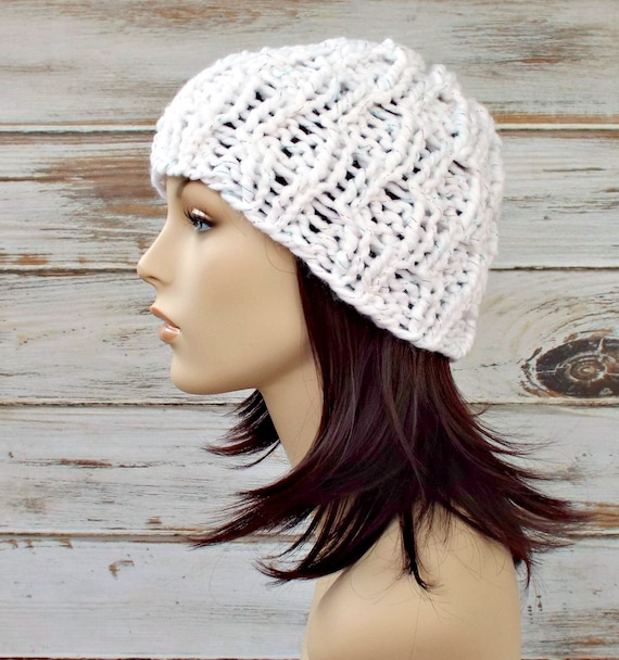 White Knit Hat White Womens Hat - Amsterdam Cable Beanie Celebration Metallic White - White Hat White Beanie Womens Accessories Winter Hat