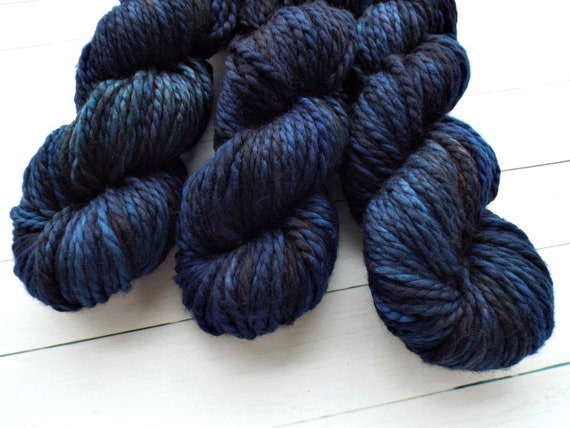 Hand Dyed Yarn 100% Superwash Merino Yarn Bulky Weight Yarn 109 Yards - Tonal Yarn Navy Yarn Navy Blue Yarn - Midnight Blue