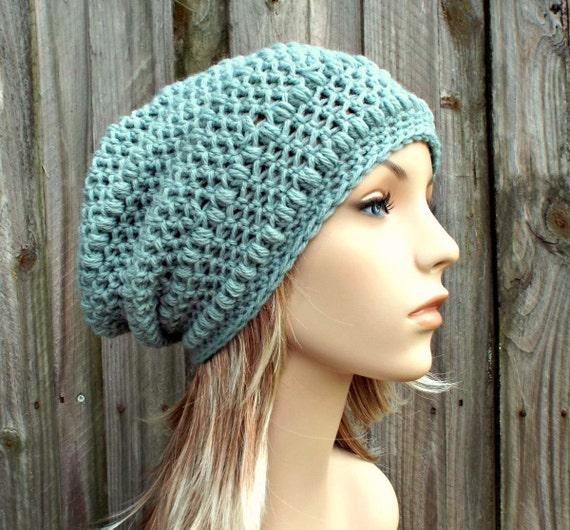 Crochet Hat Womens Hat - Penelope Puff Stitch Slouchy Beanie Hat in Seaspray Pale Blue Crochet Hat - Blue Beanie Blue Hat