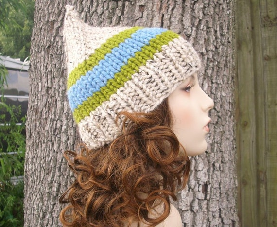 Knit Hat Womens Hat - Oatmeal Gnome Hat in Blue Jay Peak Oatmeal Knit Hat - Oatmeal Hat Womens Accessories Winter Hat