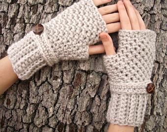 Crocheted Fingerless Gloves Mittens - Fingerless Gloves in Cream Linen - Womens Accessories