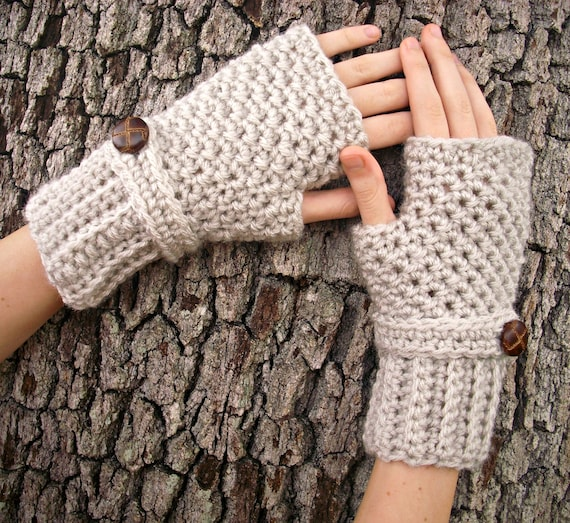 Crocheted Fingerless Gloves Mittens - Fingerless Gloves in Cream Linen - Womens Accessories
