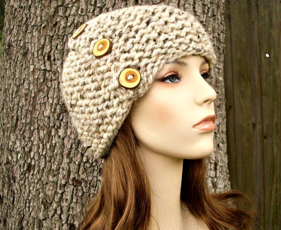 Oatmeal Womens Hat - Cardigan Beanie Hat Oatmeal Knit Hat - Oatmeal Hat Oatmeal Beanie Chunky Knit Hat Womens Accessories Winter Hat