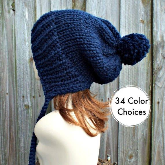 Womens Pom Pom Hat - Navy Blue Slouchy Hat Knit Ear Flap Beanie with Pom Pom - Charlotte - 34 Color Choices