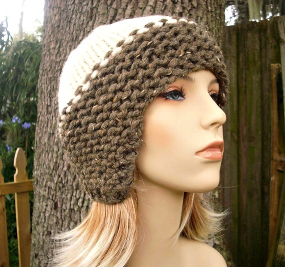 Brown Womens Hat - Cream and Barley Brown Knit Hat - Brown Hat Cream Hat Brown Ear Flap Hat Womens Accessories