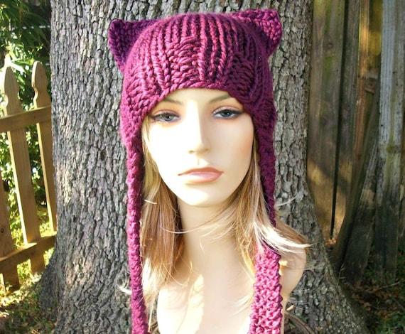 Knit Hat Womens Hat - Ear Flap Cat Hat in Red Violet Pink Knit Hat - Dark Pink Pussyhat Pink Pussy Hat Pink Cat Hat