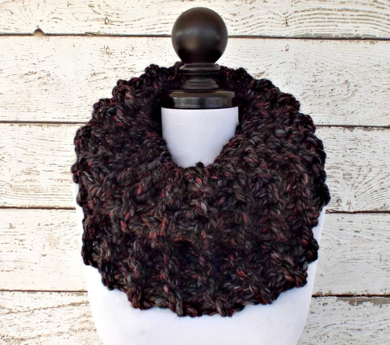 Circle Scarf Oversized Cowl Chunky Knit Cowl Scarf - Highlands Cowl in Blackstone Black Charcoal Grey Cowl Grey Scarf Womens Accessories