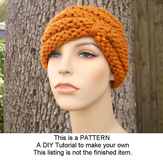 Instant Download Knitting Pattern - Knit Hat Knitting Pattern - Knit Hat Pattern for Turban Hat Beanie - Womens Accessories