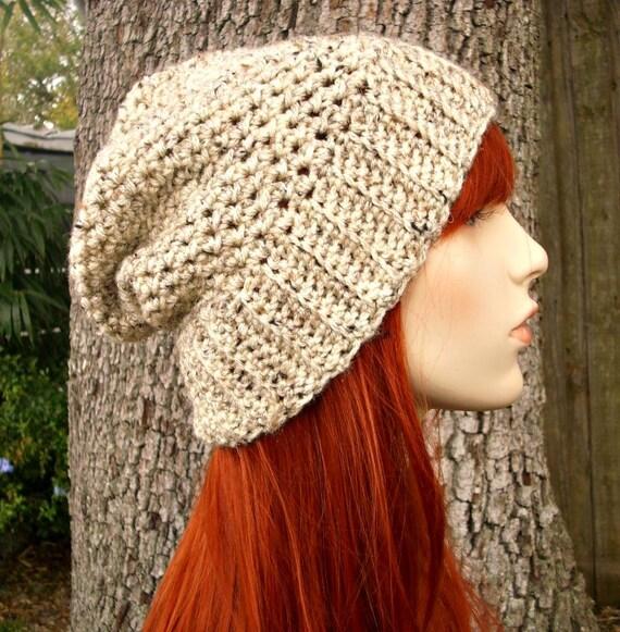 Oatmeal Crochet Hat Oatmeal Womens Hat - Yorkshire Hat Oatmeal Slouchy Hat - Oatmeal Hat Oatmeal Beanie Fall Fashion - READY TO SHIP