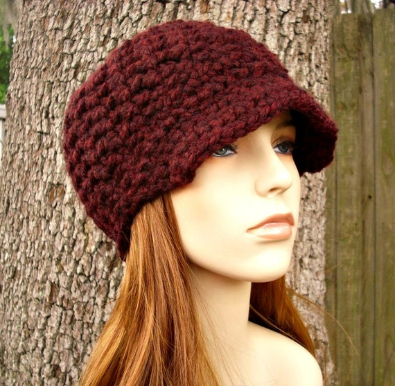 Crochet Womens Hat Red Newsboy Hat - Jockey Cap Oxblood Burgundy Wine Red Hat Beanie Womens Accessories Fall Fashion Winter Hat