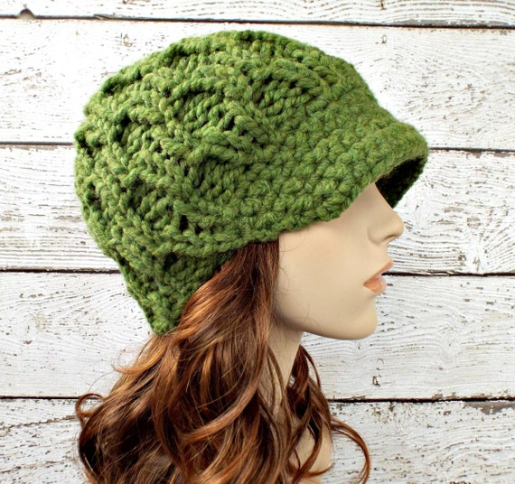 Green Knit Hat Green Womens Hat Green Newsboy Hat - Amsterdam Cable Beanie Grass Green Hat Womens Accessories - READY TO SHIP