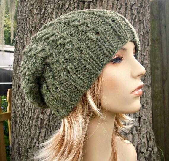 Knit Hat Womens Hat Slouchy Beanie - Eyelet Cable Slouchy Hat Willow Green Knit Hat - Green Hat Green Beanie Womens Accessories Winter Hat