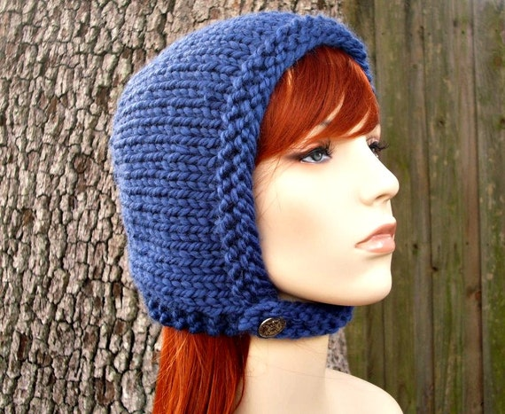Blue Womens Hat - Pixie In Training Aviator Cap Sapphire Blue Knit Hat - Blue Bonnet Blue Hat Womens Accessories Fall Fashion Winter Hat