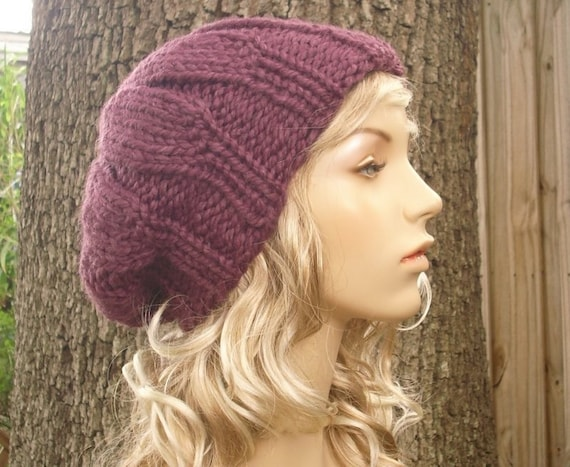 Knit Hat Womens Hat Slouchy Beanie - Urchin Beret Hat in Fig Purple Knit Hat - Purple Hat Purple Beret Purple Beanie Womens Accessories