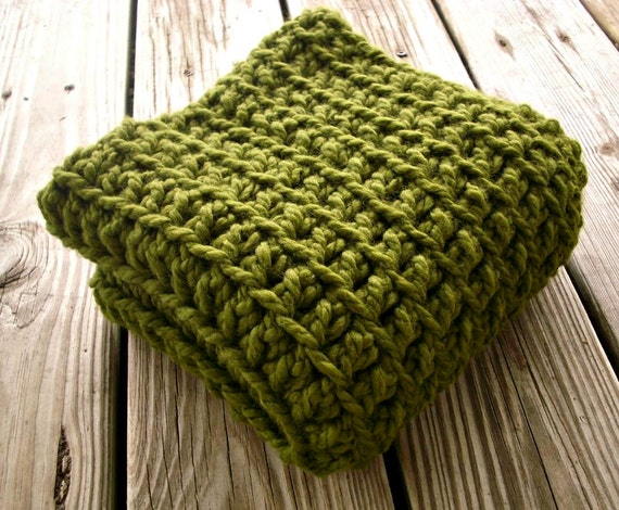 Crocheted Cowl Scarf - Oversized Cowl Scarf in Olive Green Cowl - Womens Green Scarf Womens Accessories