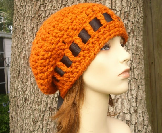 Crochet Hat Orange Womens Hat - Escargot Beret in Pumpkin Orange Hat Orange Beret Orange Beanie Womens Accessories
