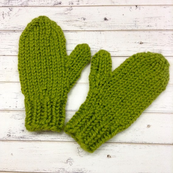 Lemongrass Green Mittens Womens Accessories Chunky Womens Mittens Adult Mittens Green Gloves - Knit Accessories