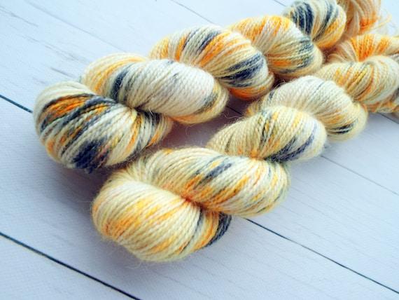 Hand Dyed Sock Yarn Superwash Wool Nylon 80/20 Fingering Weight Yarn Sock Yarn 50 Grams - Speckled Yarn Pale Yellow Black Orange - Koi Fish